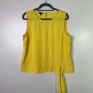 TALBOTS Yellow Side Tie Hem Sleeveless Blouse 14
